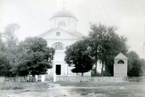 Kościół w Mokobodach na starej fotografii